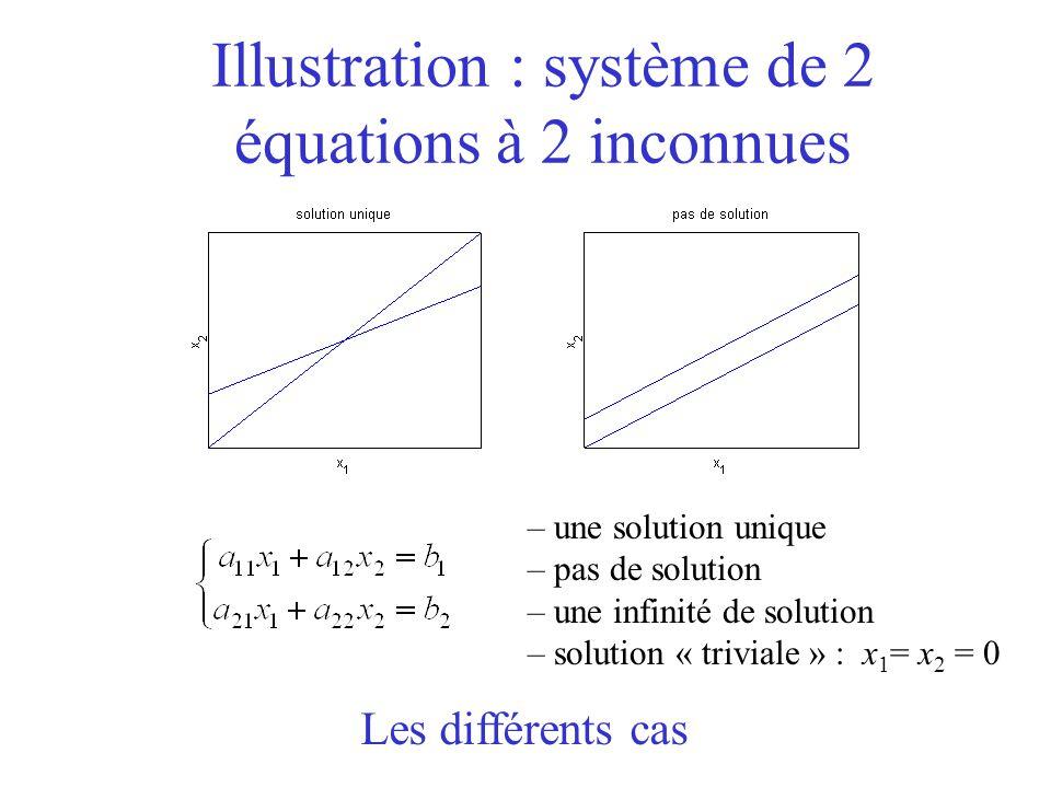 Illustration : système de 2 équations à 2 inconnues