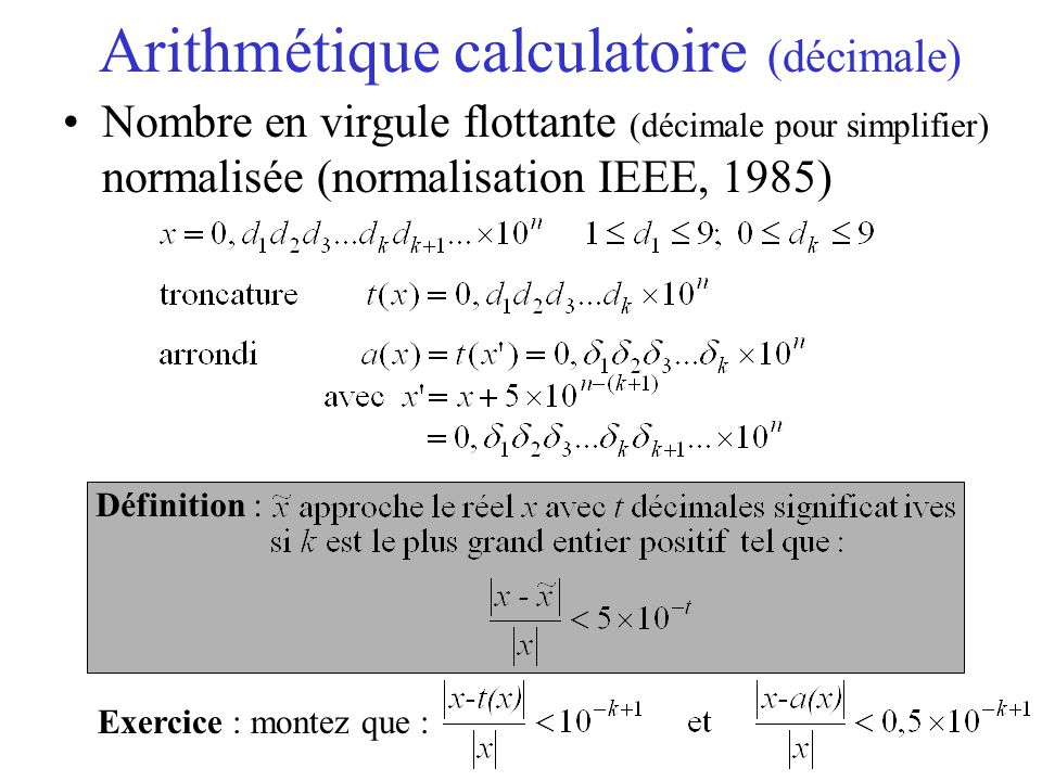 Arithmétique calculatoire (décimale)