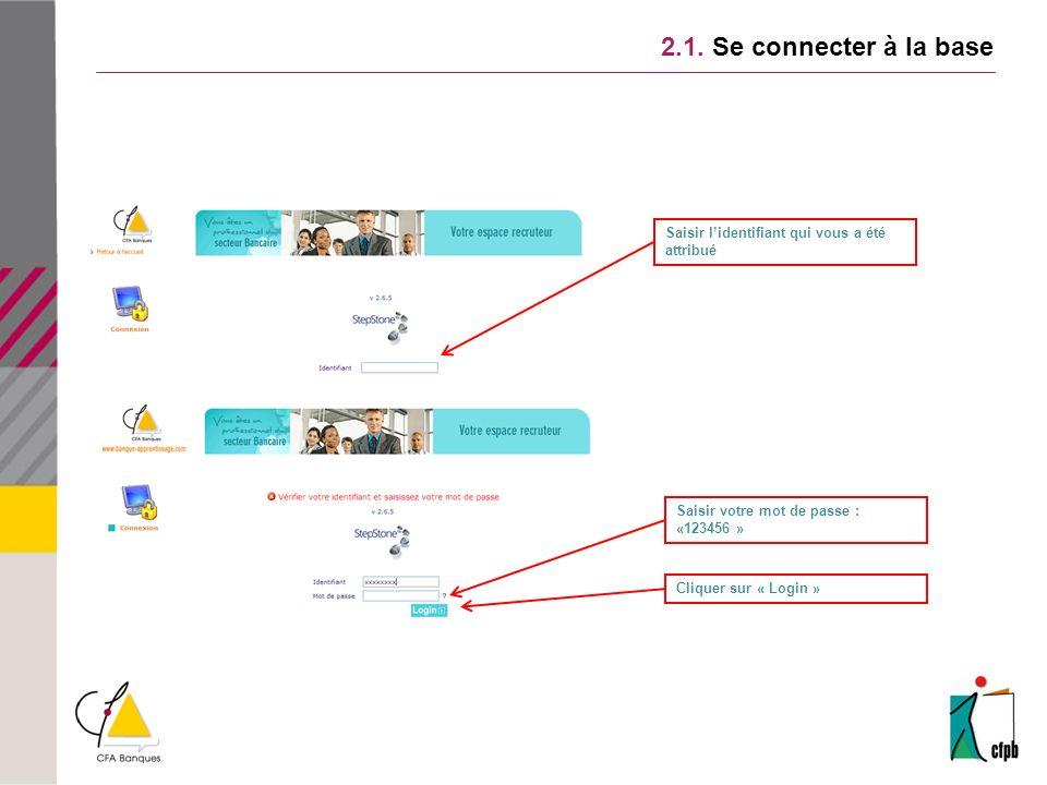 2.1. Se connecter à la base Saisir l'identifiant qui vous a été attribué. Saisir votre mot de passe :