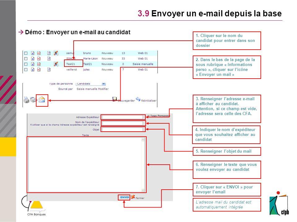 3.9 Envoyer un e-mail depuis la base