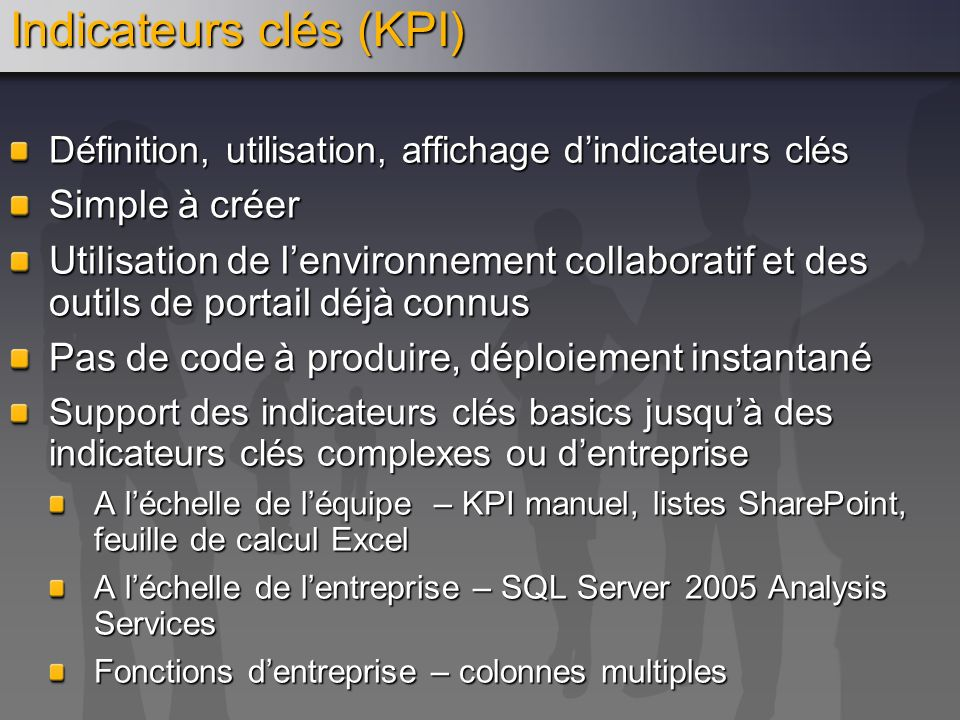 Indicateurs clés (KPI)