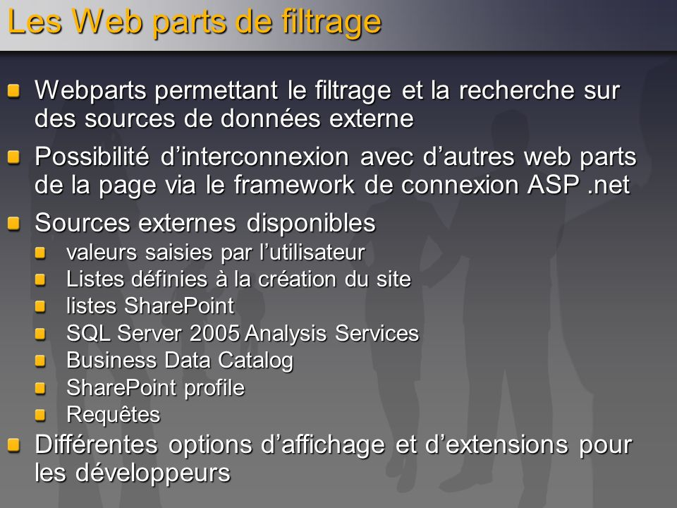 Les Web parts de filtrage