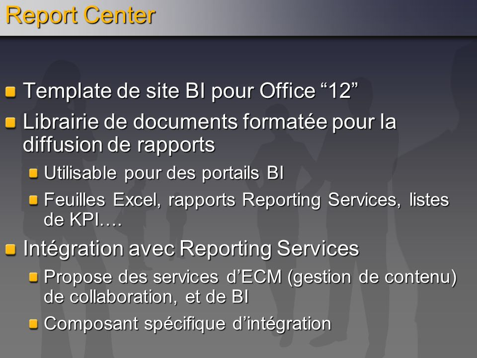 Report Center Template de site BI pour Office 12