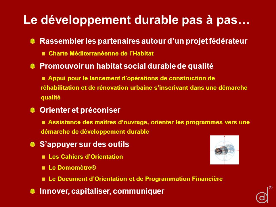 Le développement durable pas à pas…