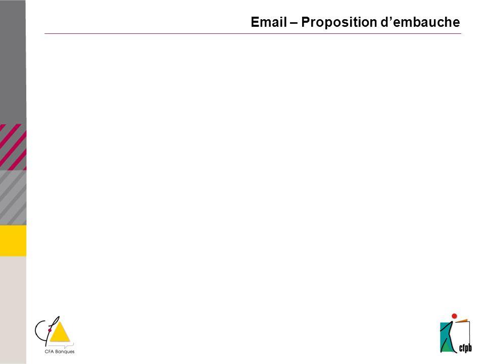 Email – Proposition d'embauche