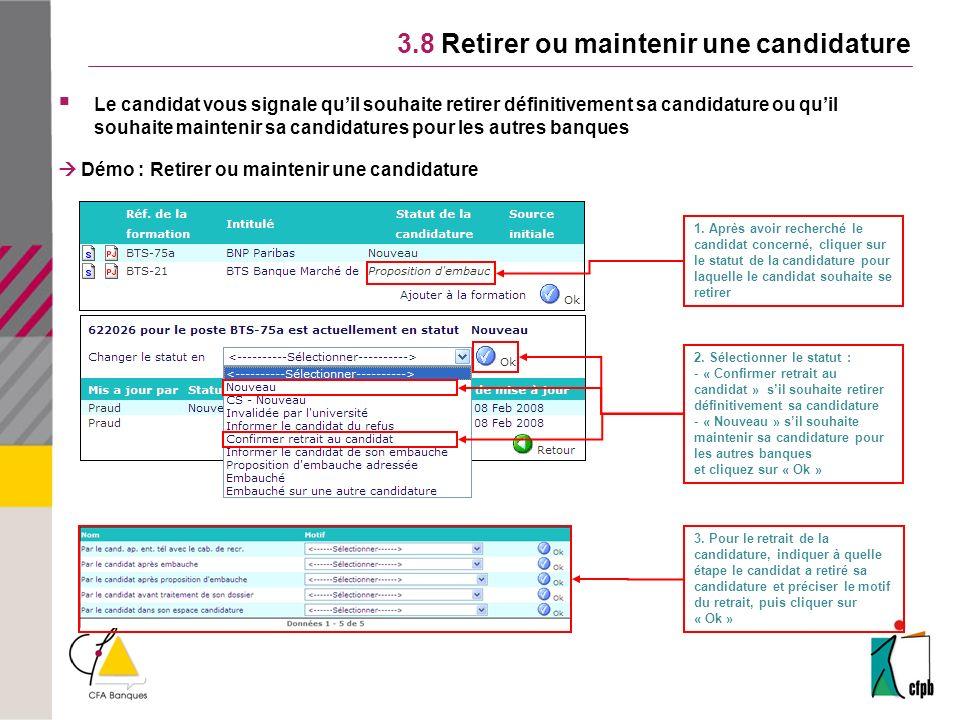 3.8 Retirer ou maintenir une candidature