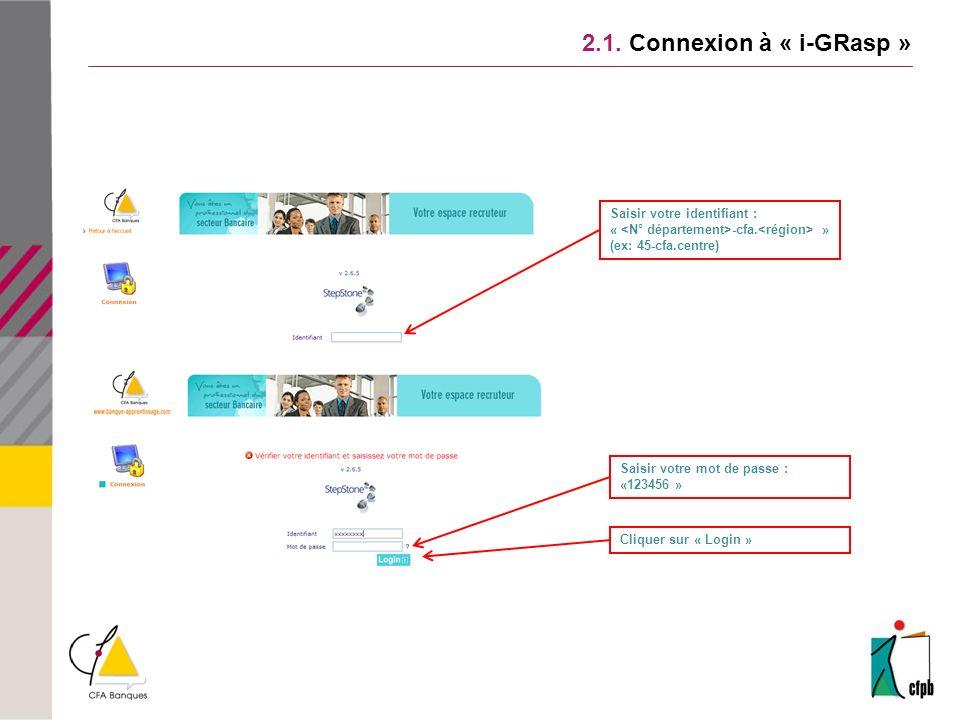 2.1. Connexion à « i-GRasp » Saisir votre identifiant :