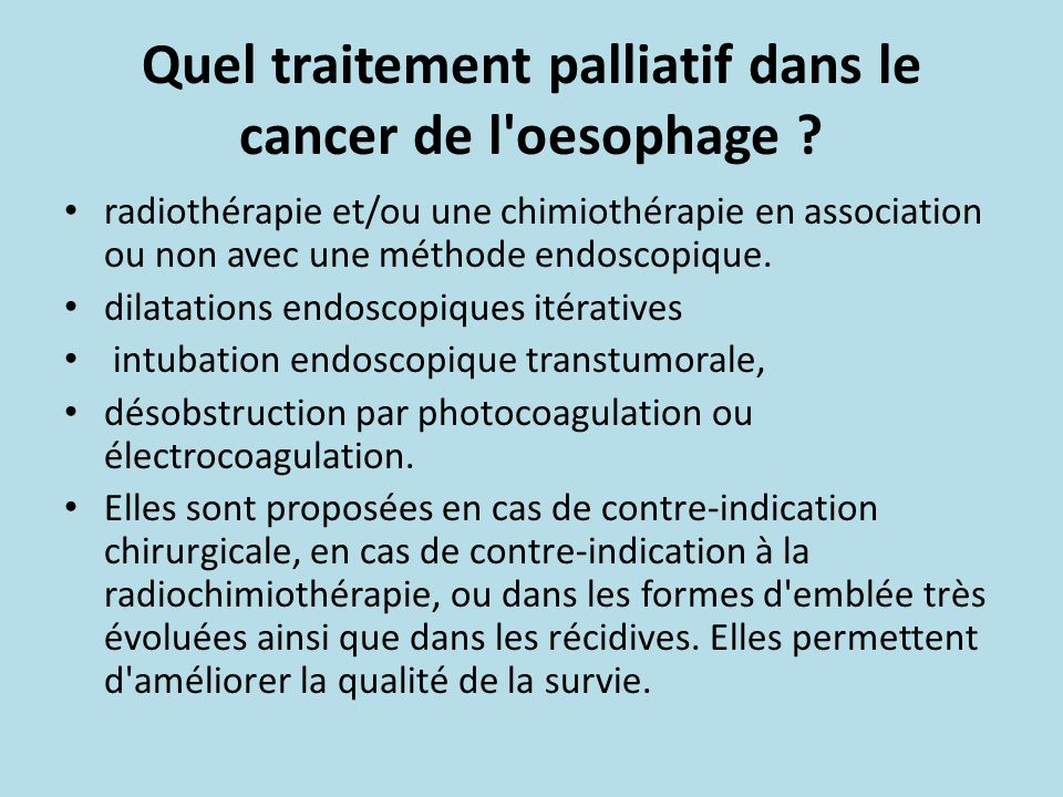 Quel traitement palliatif dans le cancer de l oesophage