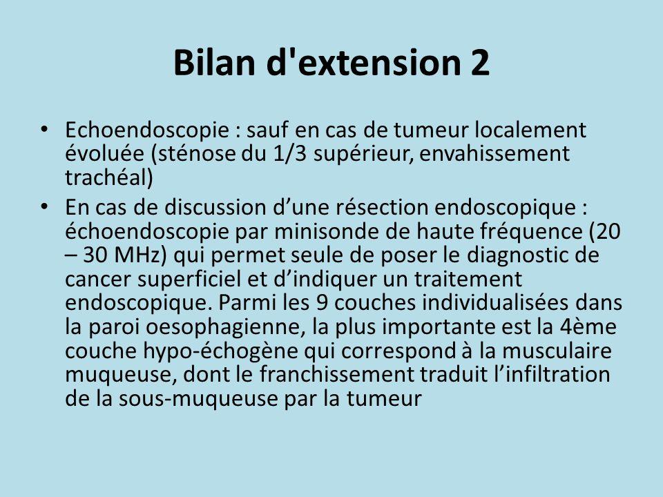 Bilan d extension 2 Echoendoscopie : sauf en cas de tumeur localement évoluée (sténose du 1/3 supérieur, envahissement trachéal)