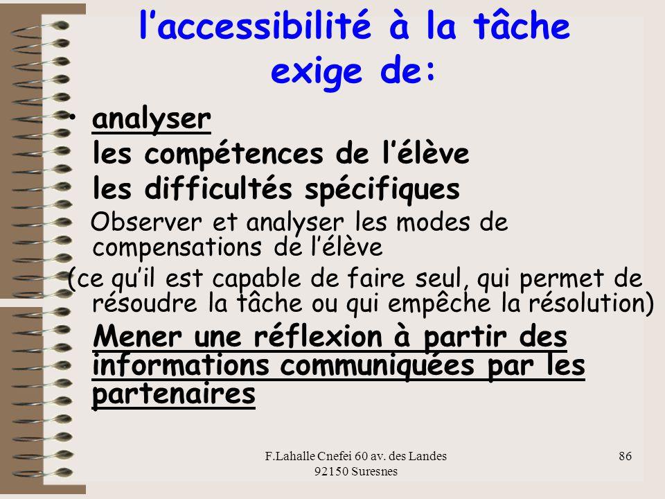 l'accessibilité à la tâche exige de: