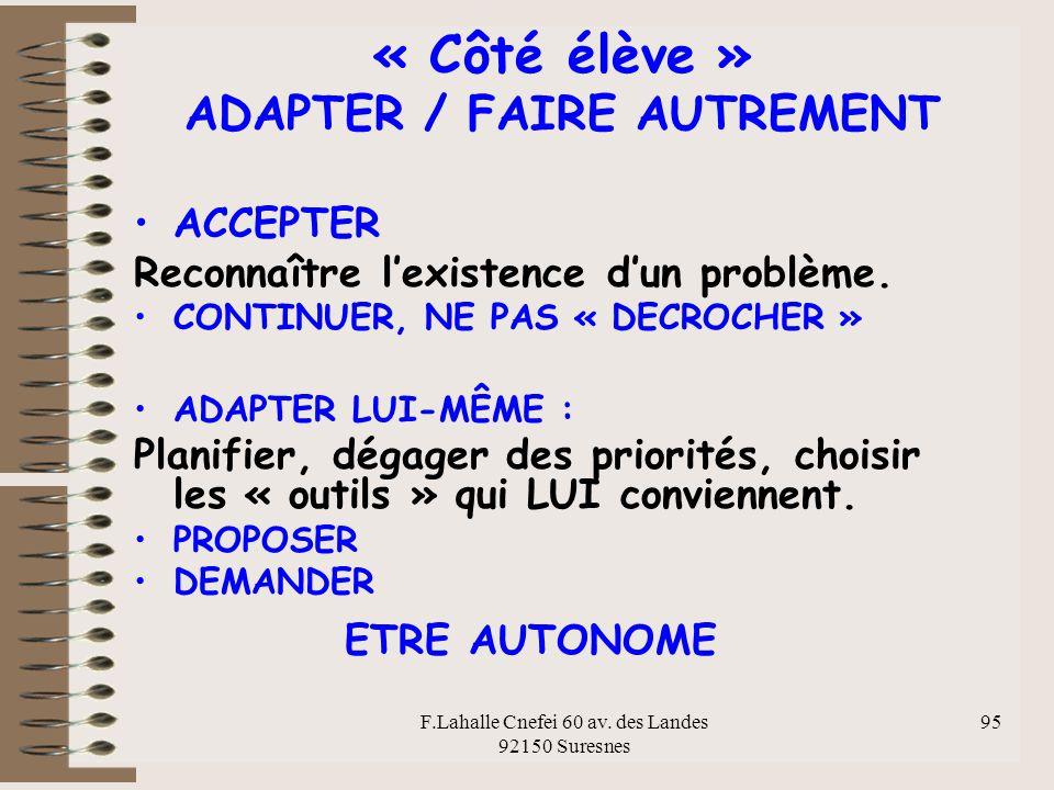 « Côté élève » ADAPTER / FAIRE AUTREMENT