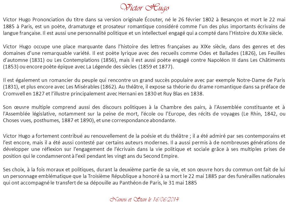 Victor Hugo La plaine brille, heureuse et pure ;