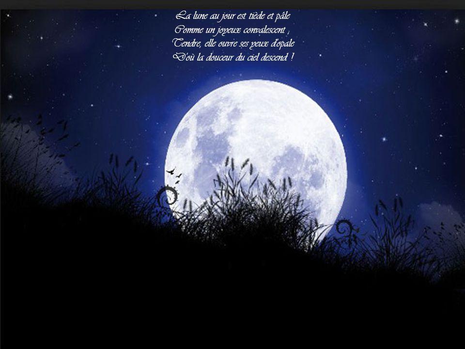 La lune au jour est tiède et pâle Comme un joyeux convalescent ;