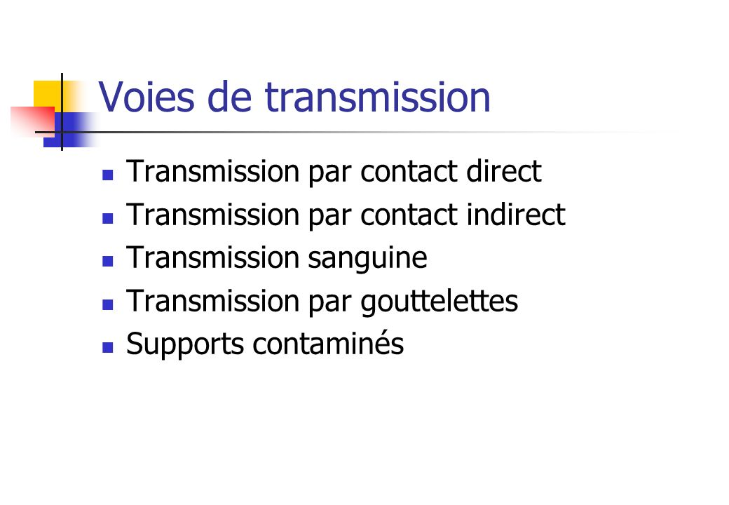 Voies de transmission Transmission par contact direct
