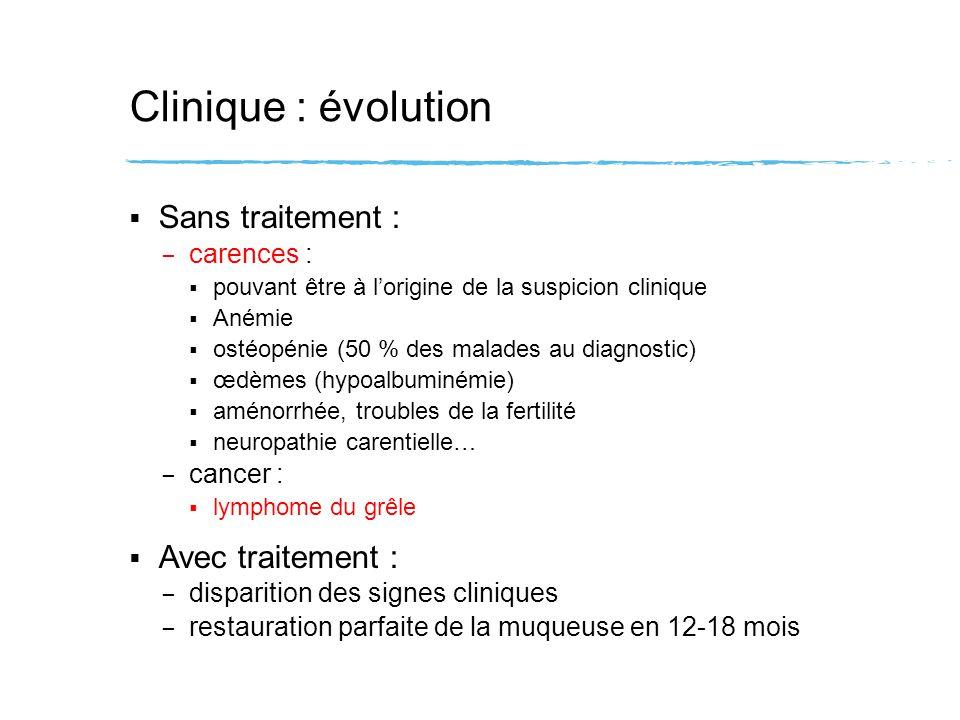 Clinique : évolution Sans traitement : Avec traitement : carences :