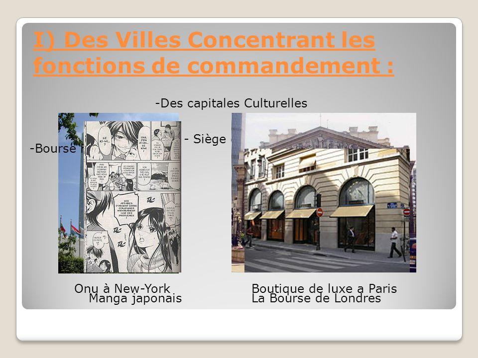 I) Des Villes Concentrant les fonctions de commandement :
