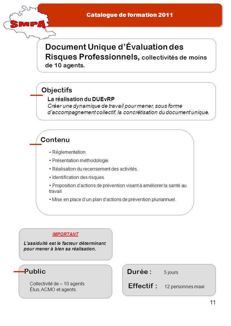 SMPA Document Unique d'Évaluation des Risques Professionnels, collectivités de moins de 10 agents. La réalisation du DUEvRP.