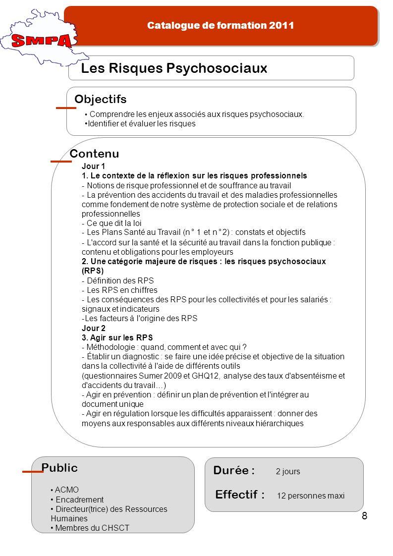 SMPA Les Risques Psychosociaux Objectifs Contenu Public