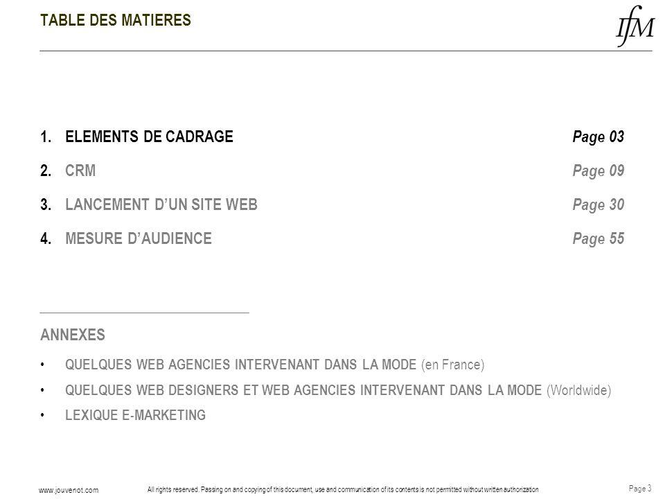 ELEMENTS DE CADRAGE Page 03 CRM Page 09