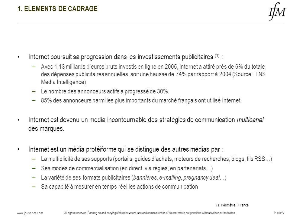 1. ELEMENTS DE CADRAGEInternet poursuit sa progression dans les investissements publicitaires (1) :