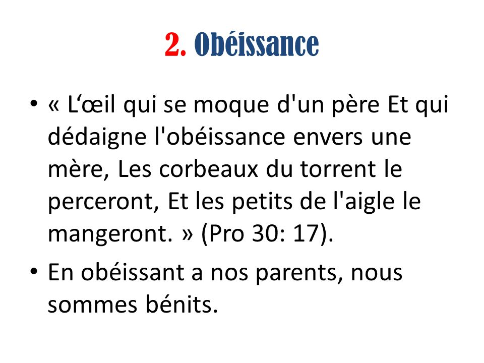 2. Obéissance