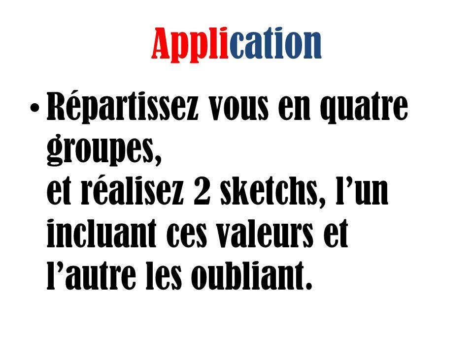 Application Répartissez vous en quatre groupes, et réalisez 2 sketchs, l'un incluant ces valeurs et l'autre les oubliant.
