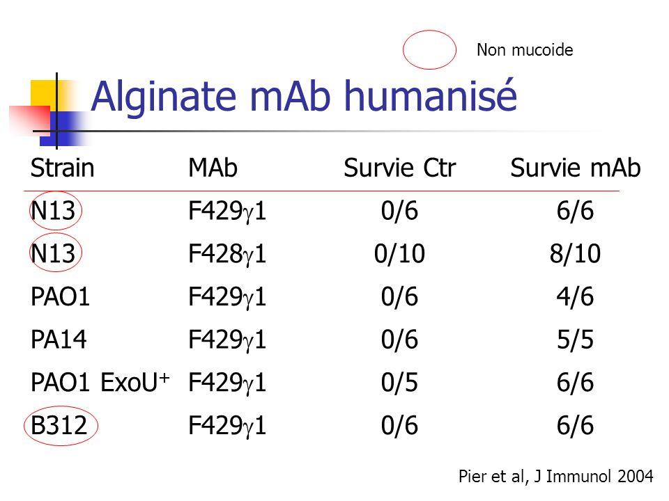 Alginate mAb humanisé Strain MAb Survie Ctr Survie mAb N13 F429g1 0/6