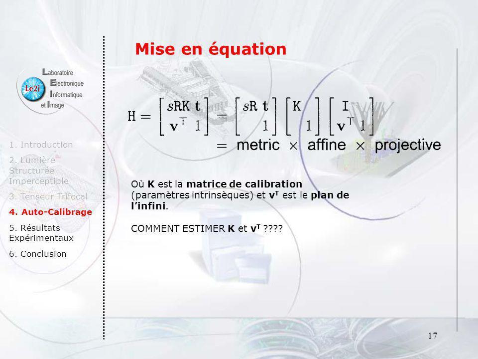 Mise en équation 1. Introduction. 2. Lumière Structurée Imperceptible. 3. Tenseur Trifocal. 4. Auto-Calibrage.