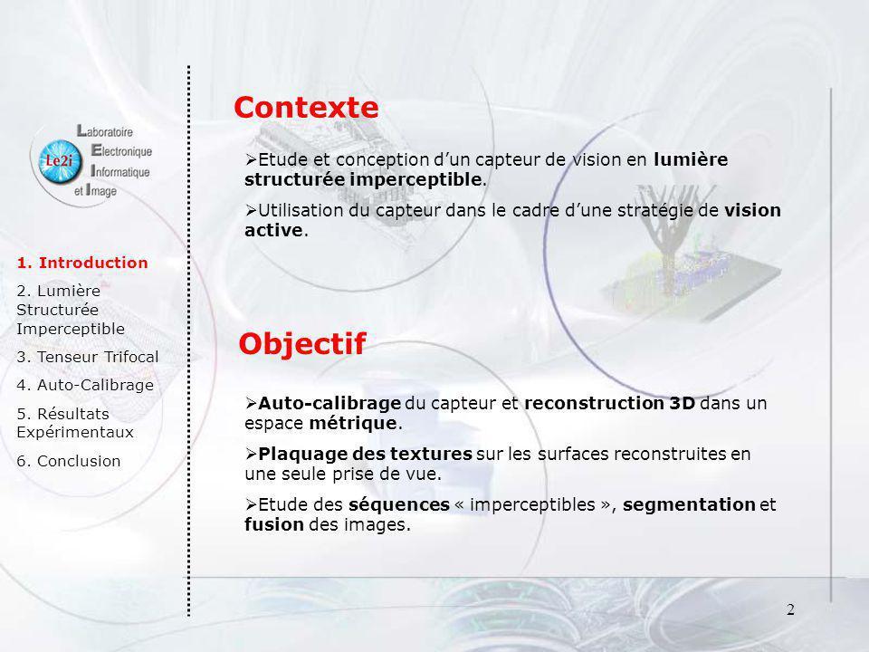 Contexte Etude et conception d'un capteur de vision en lumière structurée imperceptible.