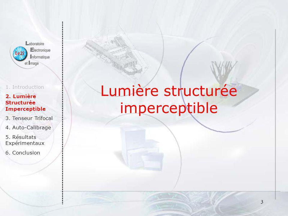 Lumière structurée imperceptible