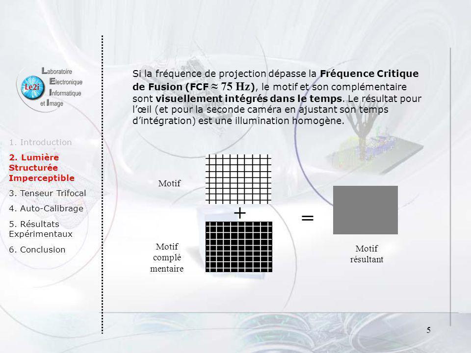 Si la fréquence de projection dépasse la Fréquence Critique de Fusion (FCF ≈ 75 Hz), le motif et son complémentaire sont visuellement intégrés dans le temps. Le résultat pour l'œil (et pour la seconde caméra en ajustant son temps d'intégration) est une illumination homogène.