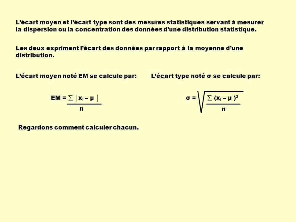 L'écart moyen et l'écart type sont des mesures statistiques servant à mesurer la dispersion ou la concentration des données d'une distribution statistique.