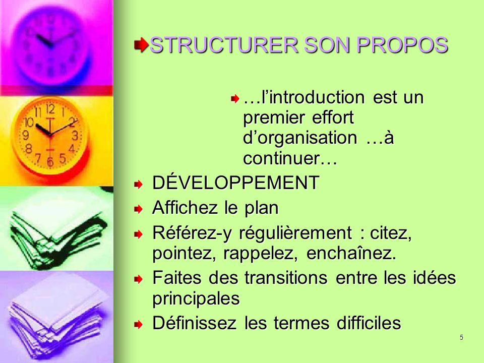 STRUCTURER SON PROPOS …l'introduction est un premier effort d'organisation …à continuer… DÉVELOPPEMENT.