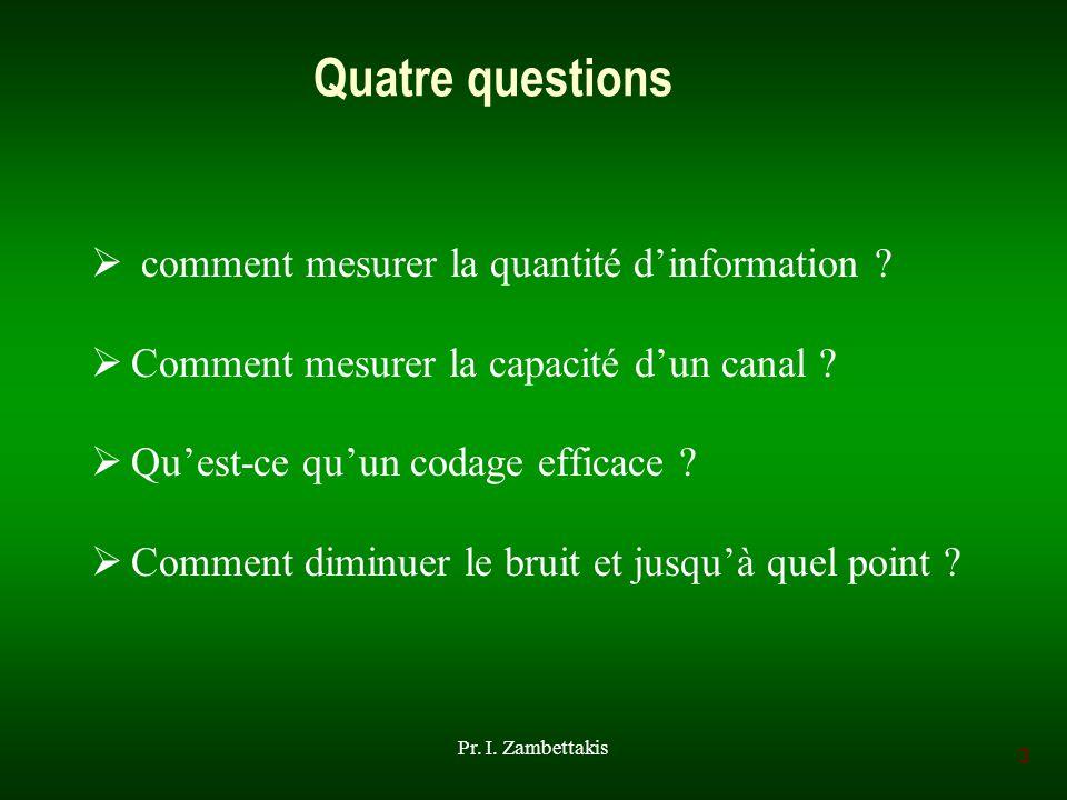 Quatre questions comment mesurer la quantité d'information