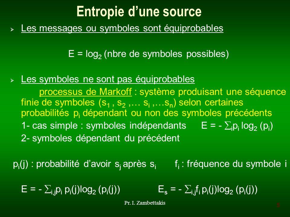 Entropie d'une source Les messages ou symboles sont équiprobables
