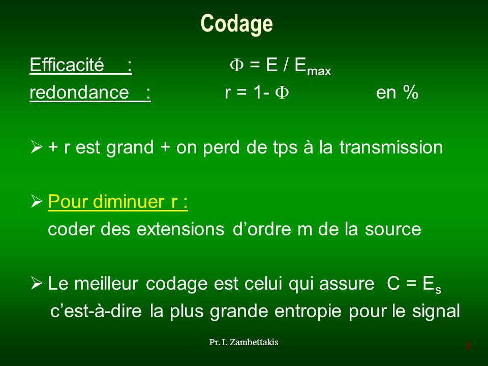Codage Efficacité :  = E / Emax redondance : r = 1-  en %