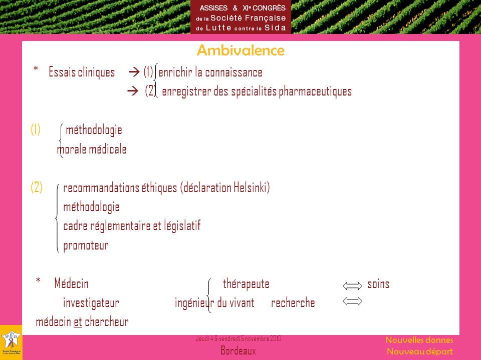 Ambivalence * Essais cliniques  (1) enrichir la connaissance