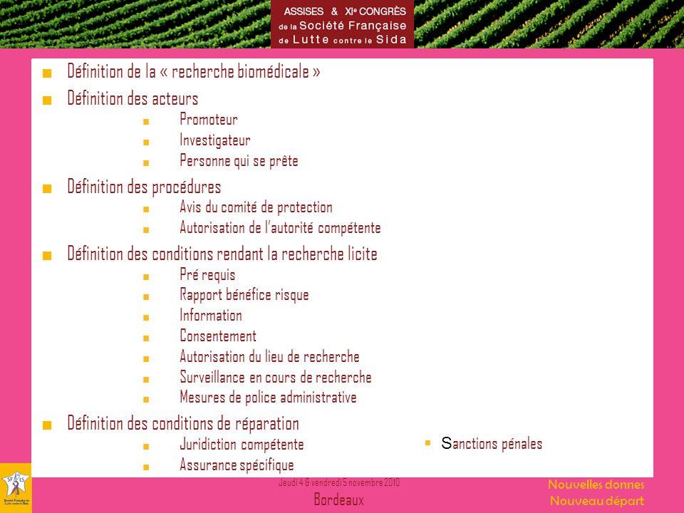 Définition de la « recherche biomédicale » Définition des acteurs