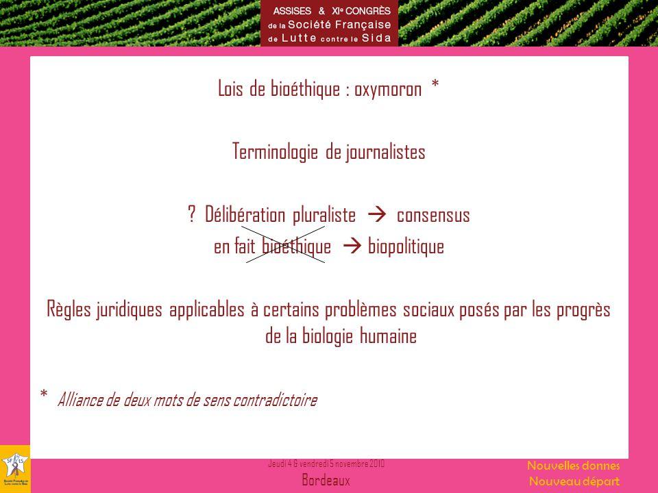 Lois de bioéthique : oxymoron * Terminologie de journalistes