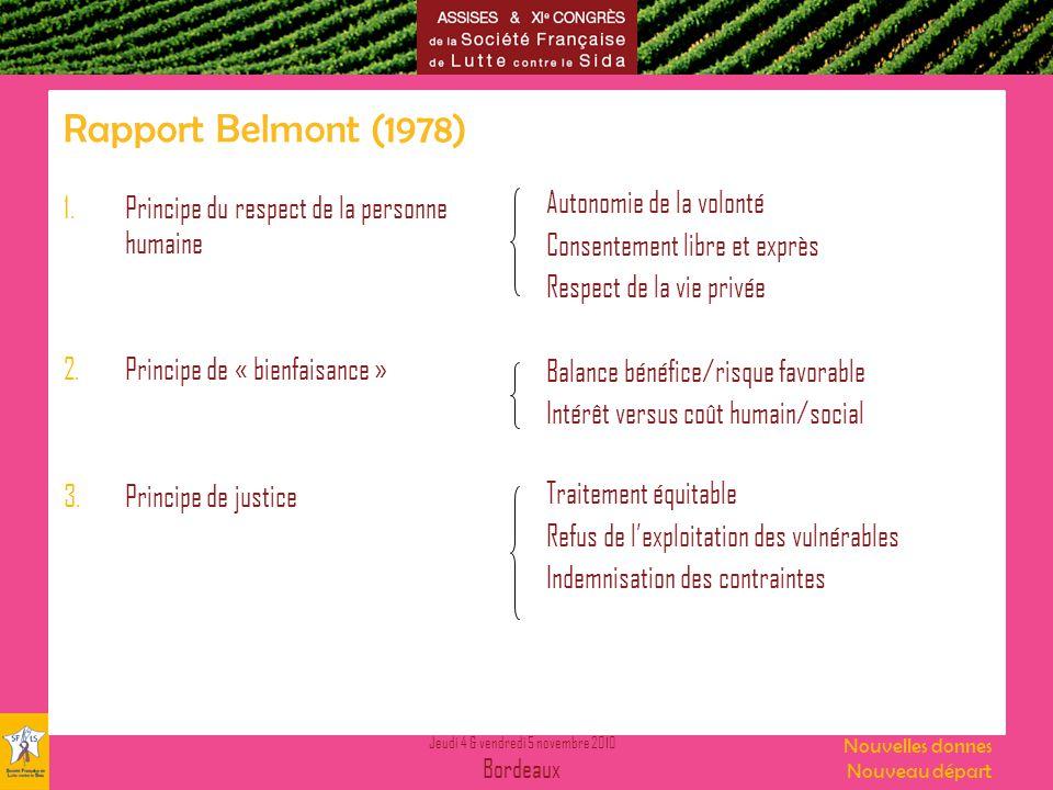 Rapport Belmont (1978) Autonomie de la volonté