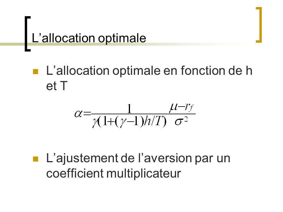 L'allocation optimale