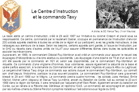 Le Centre d'Instruction et le commando Taxy