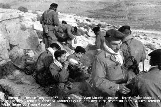 Le commando Rescue-Taxy en 1957 - 1er plan : BC Yvon Maurice, derrière : 1ère Cl Emile Markot tué le 15 juin 1957.