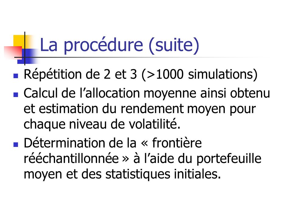 La procédure (suite) Répétition de 2 et 3 (>1000 simulations)