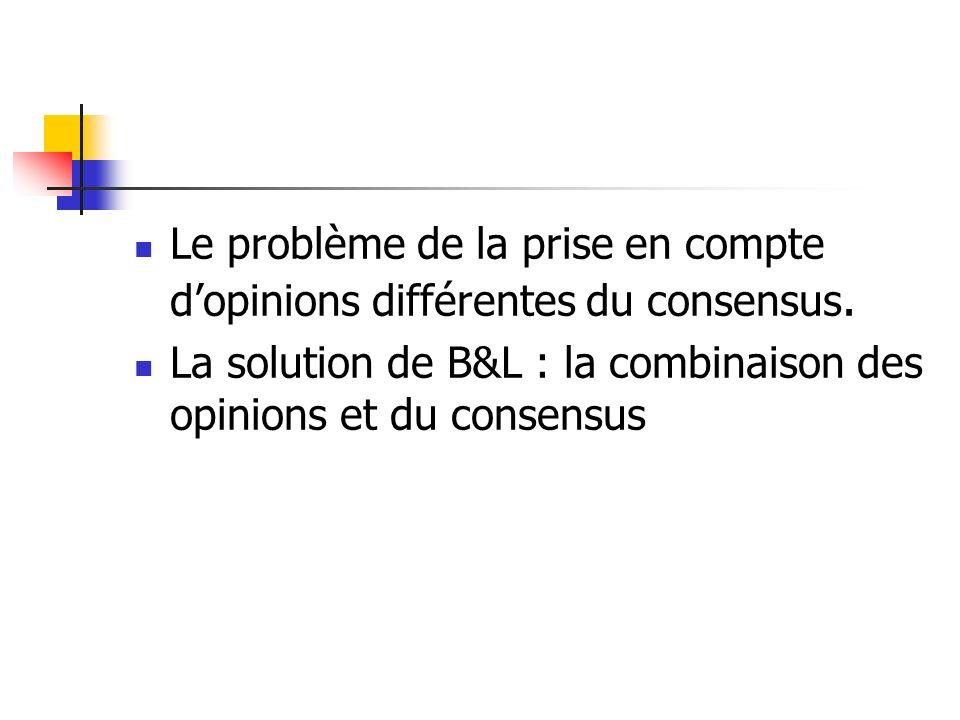 Le problème de la prise en compte d'opinions différentes du consensus.