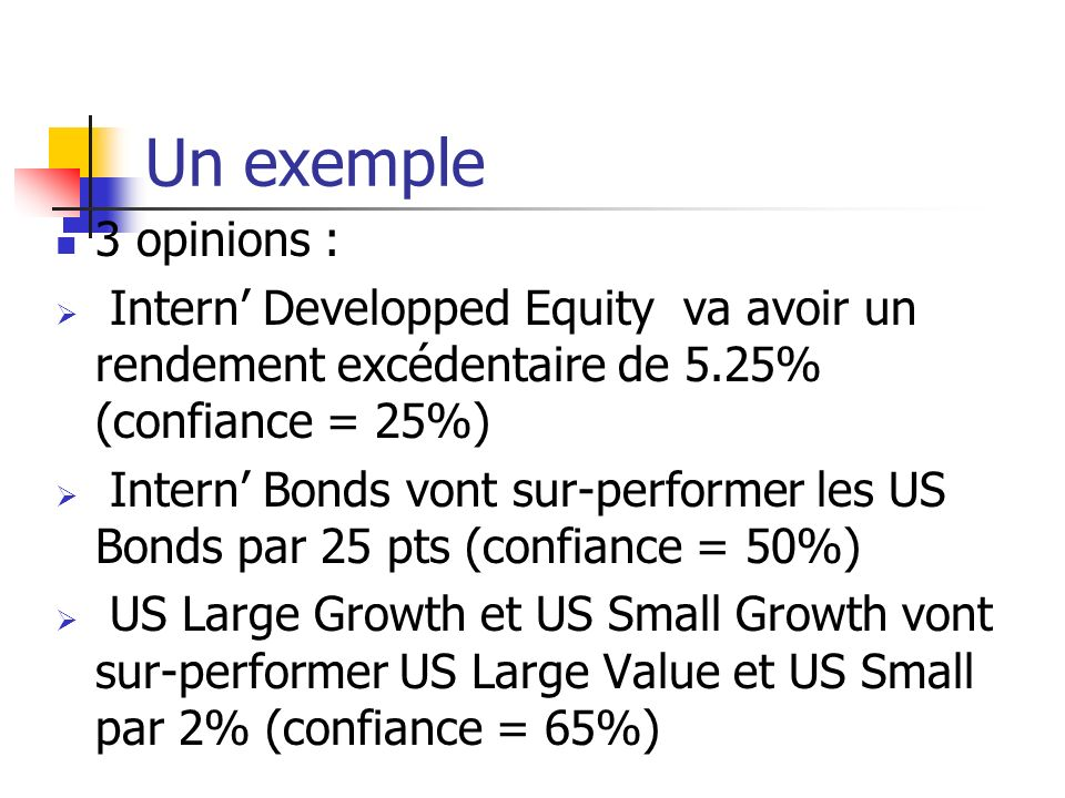 Un exemple 3 opinions : Intern' Developped Equity va avoir un rendement excédentaire de 5.25% (confiance = 25%)