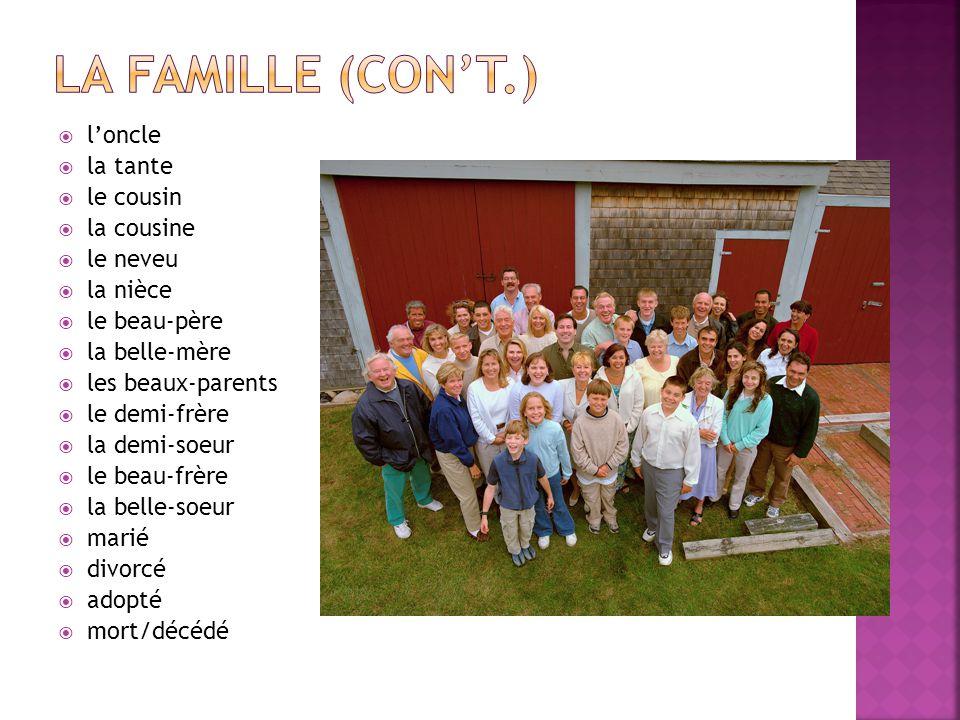 La Famille (con't.) l'oncle la tante le cousin la cousine le neveu