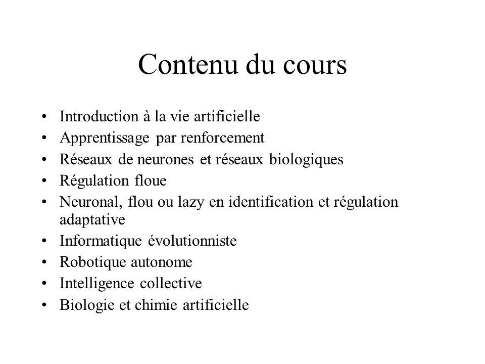Contenu du cours Introduction à la vie artificielle