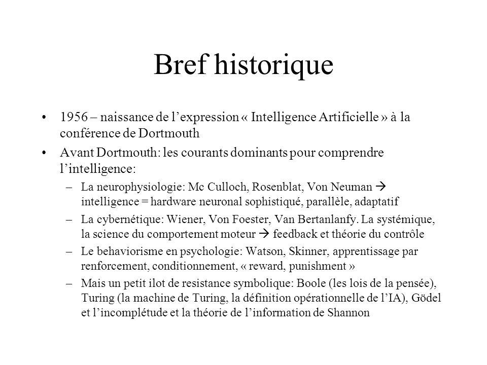 Bref historique 1956 – naissance de l'expression « Intelligence Artificielle » à la conférence de Dortmouth.