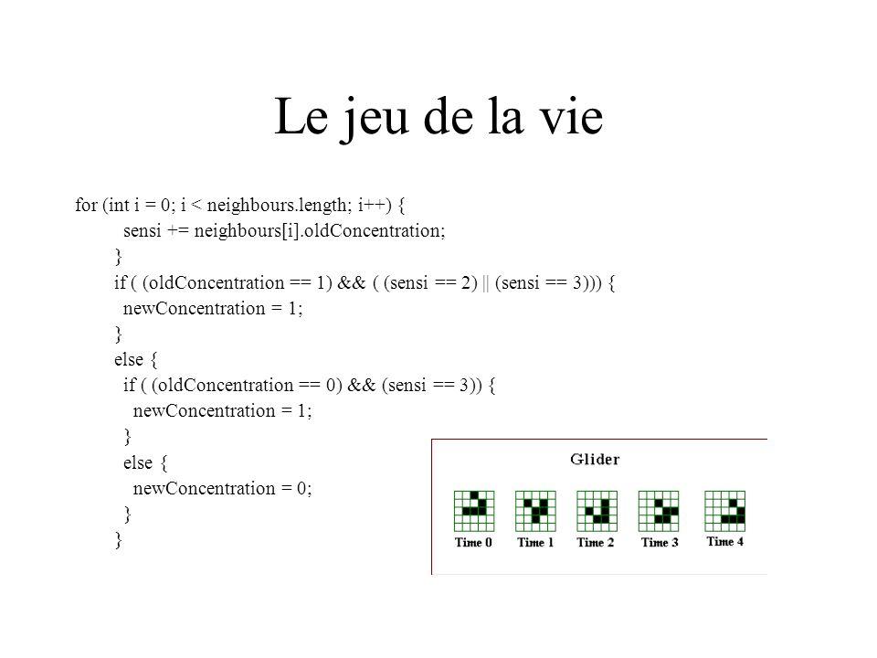 Le jeu de la vie for (int i = 0; i < neighbours.length; i++) {
